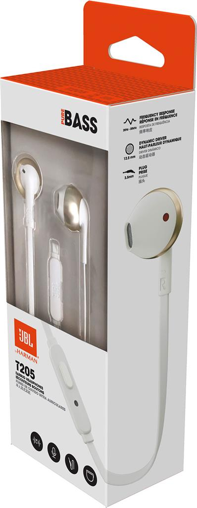 Ecouteurs/MICRO JBL T205 BLANC/OR
